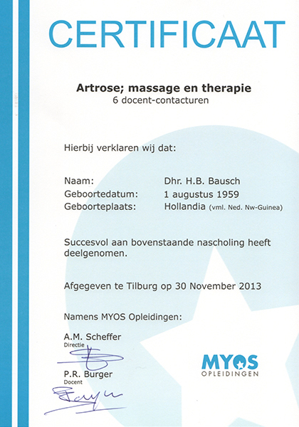 Body Aspects diploma Artrose