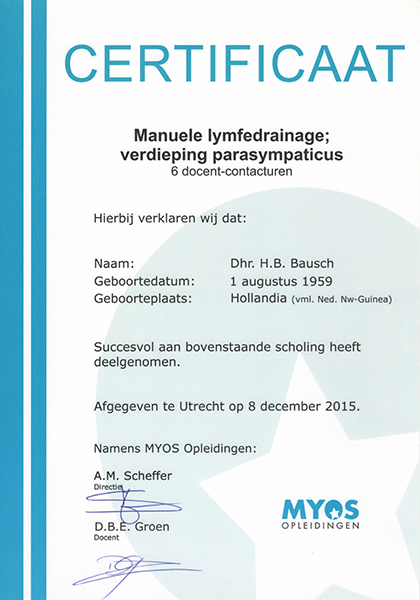 Body Aspects diploma Lymfetherapie Parasympaticus