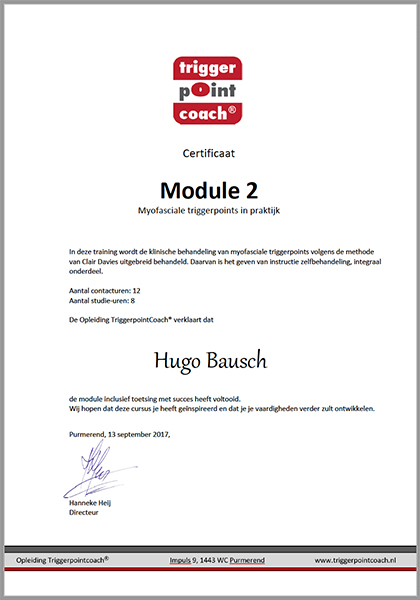 Body Aspects diploma Triggerpoint Coach Module2