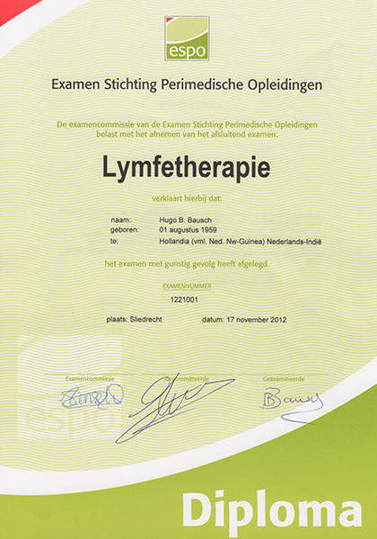 Body Aspects diploma Lymfetherapie