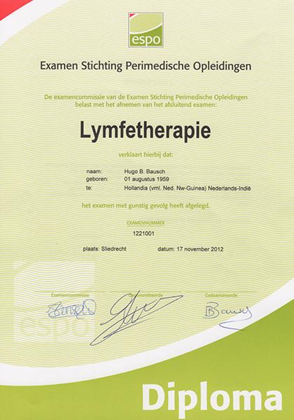 Body Aspects diploma Lymfetherapie