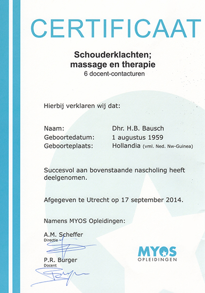 Body Aspects diploma Schouderklachten