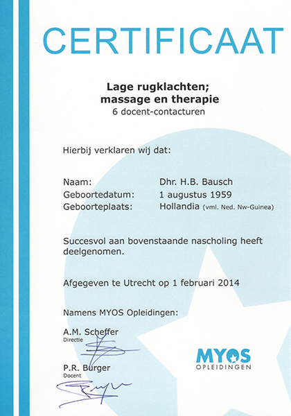 Body Aspects diploma Lage Rugklachten