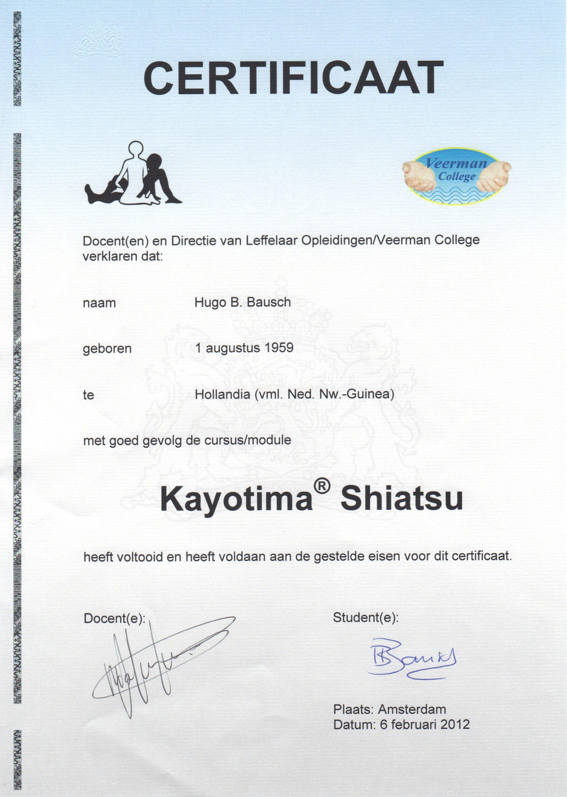 Body Aspects diploma Shiatsu